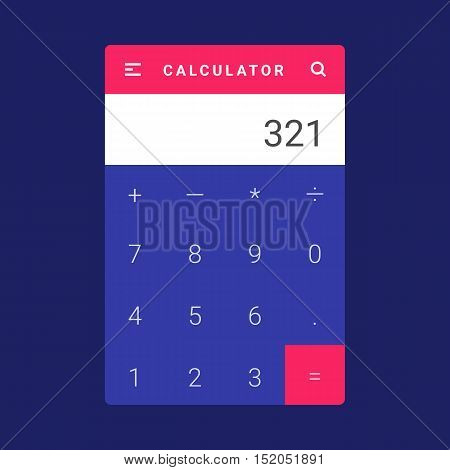 UI, UX and GUI template layout for Mobile Apps. Calculator screen. Pink and blue color ux app. User interface. Multiplication, addition, division, subtraction. Material design app calculator stock photo