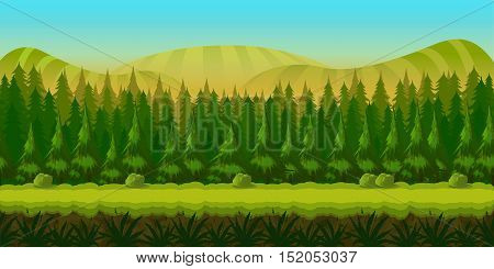 Seamless fantasy landscape, vector game background with separated layers for parallax effect. Vector illustration for your design