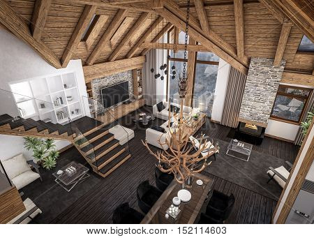 3D rendering of living room kitchen and dining room and stair are combined in one area of chalet. Rafter beam system decorates the interior. stock photo
