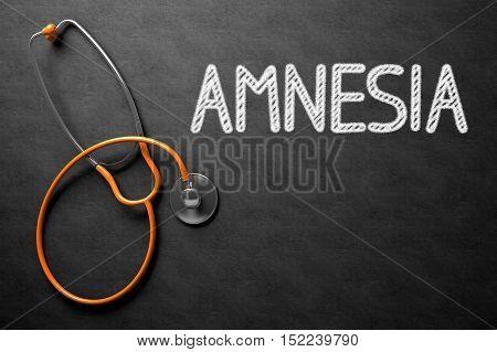 Medical Concept: Amnesia Handwritten on Black Chalkboard. Top View of Orange Stethoscope on Chalkboard. Medical Concept: Amnesia Handwritten on Black Chalkboard. 3D Rendering. stock photo