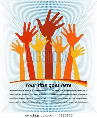 Large group of happy loving hands with copy space. stock photo