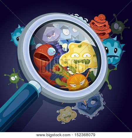 Microorganism, microscopic bacteria, pandemic virus, epidemic germs under magnifying glass vector medical and contamination concept. Unhygienic harmful influenza illustration