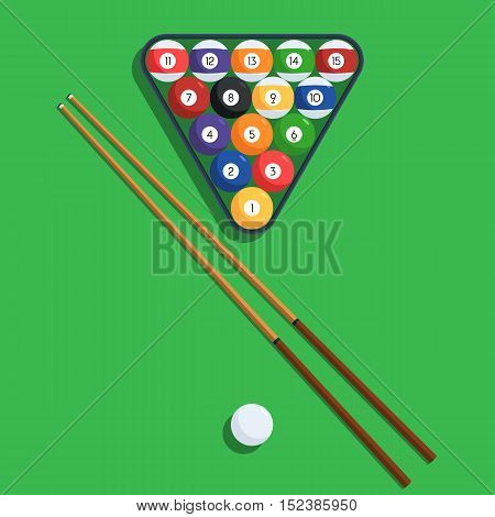 Billiard balls in the triangle rack and cue on green table. Vector illustration of a pool or billiard elements set for web design banner or print card stock photo