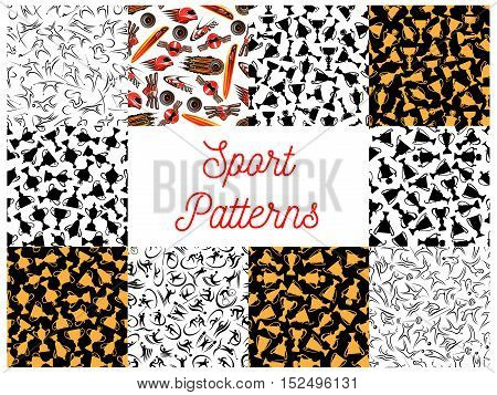 Sport seamless patterns with athletes of individual and team sports, racing car, trophy, motorsport helmet and winner cup. Sporting competition themes design