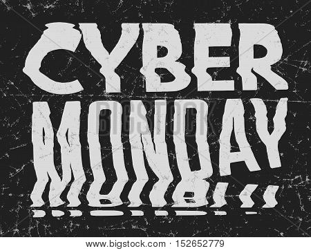 Cyber Monday Sale bad photocopy distorted glitch art typographic poster. Glitchy words for retail sale announcement stock photo