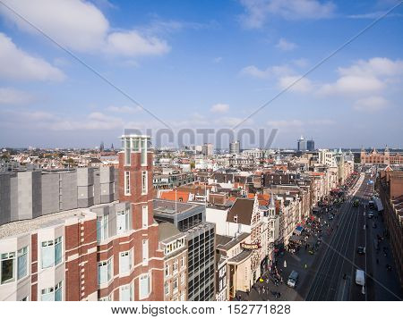 Aerial view at Amsterdam city, near exchange house stock photo