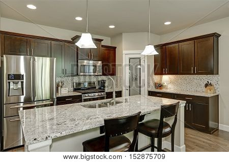 Classic kitchen room interior with large kitchen island with granite counter tops modern cabinets stainless steel appliances and pantry. Northwest USA stock photo