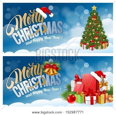 Christmas banners with Christmas tree, Christmas gifts on snowy background. Calligraphy lettering in