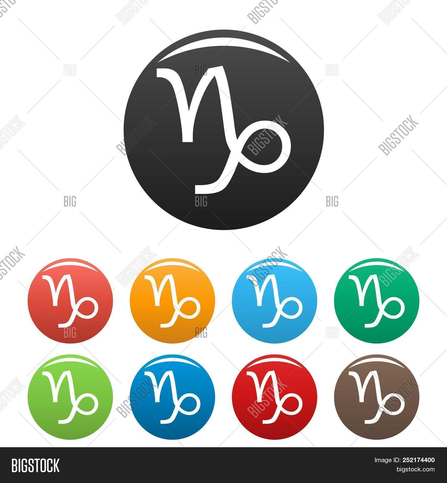 Capricorn Zodiac Sign Icons Set Simple Illustration Of Capricorn