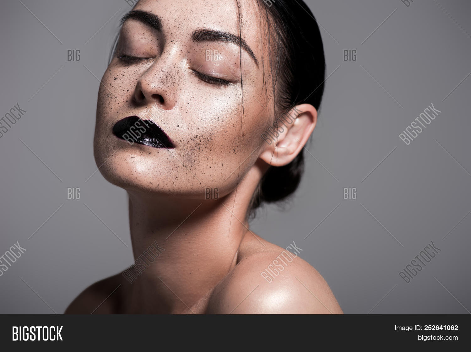 Freckled black girl naked Portrait Of Tender Nude Girl With Black Lips And Freckles Isolated On Grey Image Stock Photo 252641062