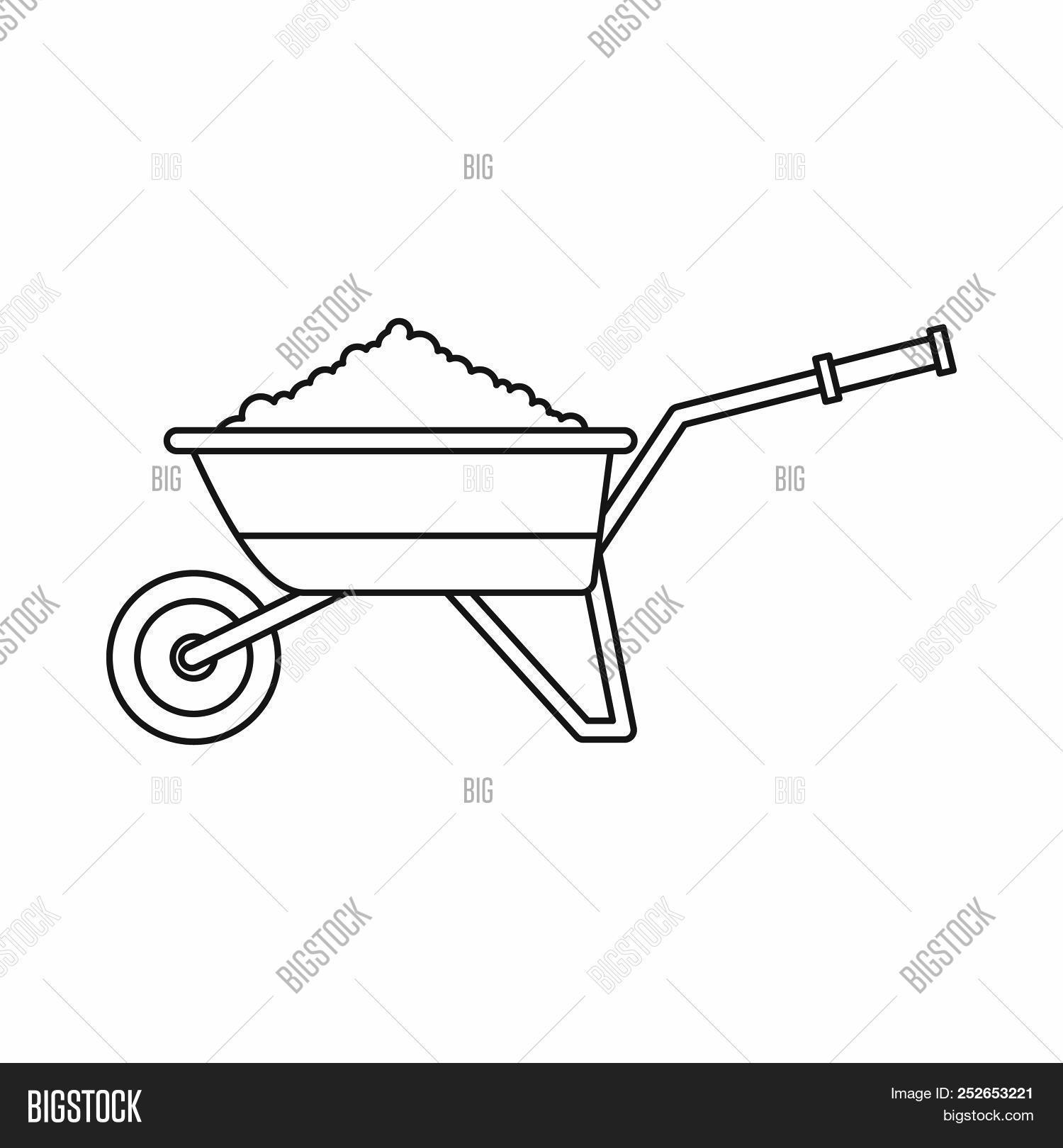 Wheelbarrow Loaded With Soil Icon In Outline Style Isolated Illustration