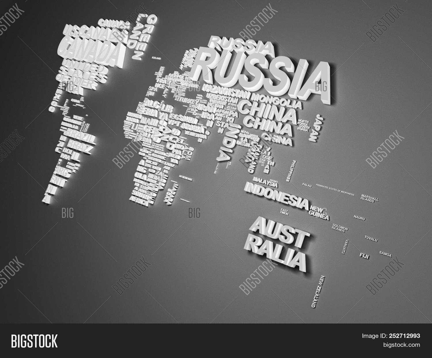 The world map with all states and their names 3d illustration on grey