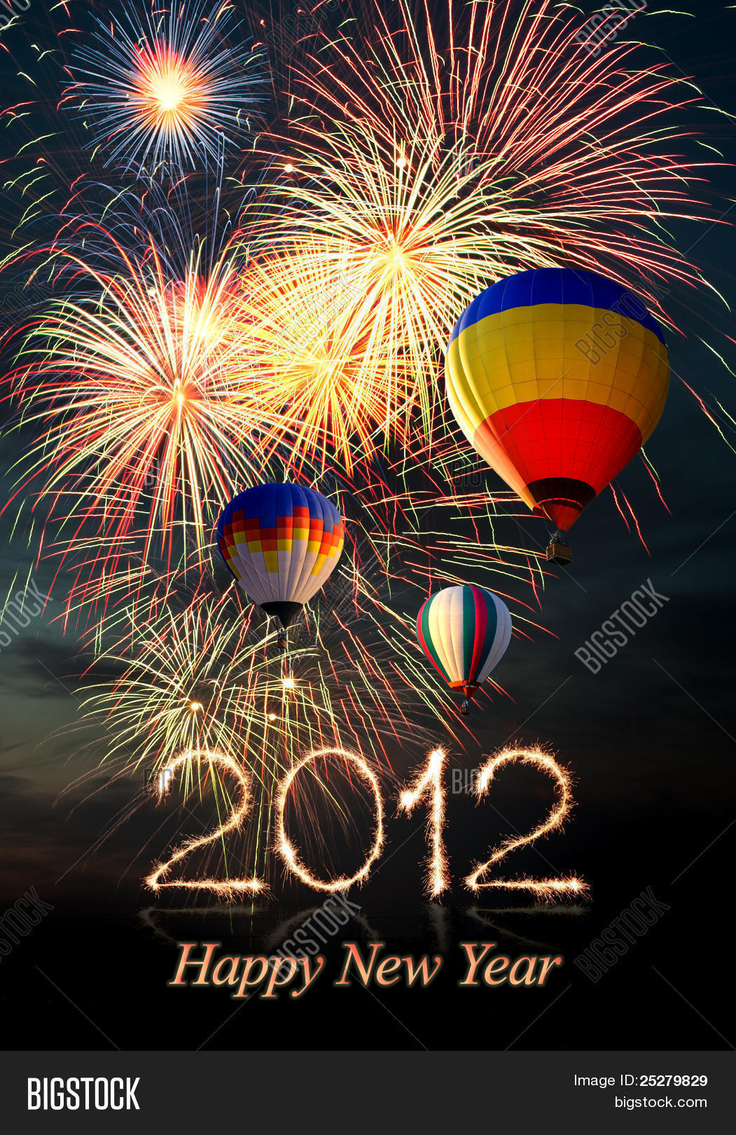 New Year 2012 Fireworks And Hot Air-balloon