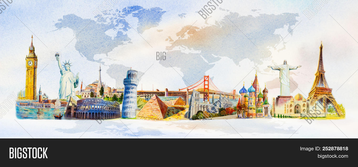 World travel and sights. Famous landmarks of the world grouped together. Watercolor hand drawn painting illustration on world map background.
