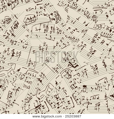 Seamless vector wallpaper. Music manuscript. Torn stock photo
