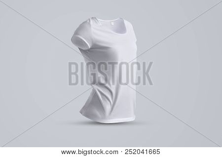 Universal mockup  with  shape of the blank female  t-shirt without body isolated on the gray background, front view. Template for your design or logo. stock photo