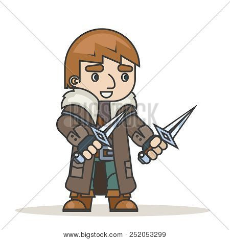 Outlaw assassin thief burglar mugger fantasy medieval action RPG game character isolated icon vector illustration stock photo