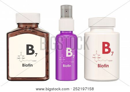 Vitamin B7, biotin. Medical bottles with pills and spray bottle, 3D rendering isolated on white background stock photo