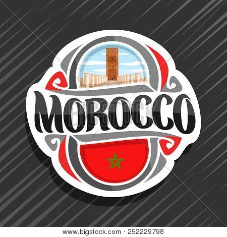 Vector logo for Morocco country, fridge magnet with moroccan state flag, original brush typeface for word morocco and national moroccan symbol - Hassan tower in Rabat on blue cloudy sky background. stock photo
