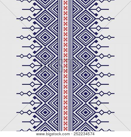 Geometric ethnic pattern traditional Design for background,carpet,wallpaper,clothing,wrapping,Batik,fabric,sarong,Vector illustration embroidery style. stock photo
