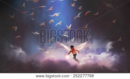 boy with angel wings holding a glowing ball running through group of birds, digital art style, illustration painting stock photo