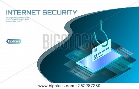 Isometric 3D smartphone credit card cvv password phishing. Personal information account email online scam hacker. Spam antivirus internet security spam concept banner template card vector illustration stock photo