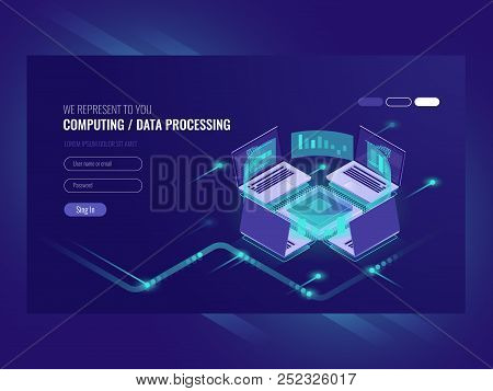 Big data processing and calculating process, server room, web hosting vps server room, database isometric vector dark stock photo
