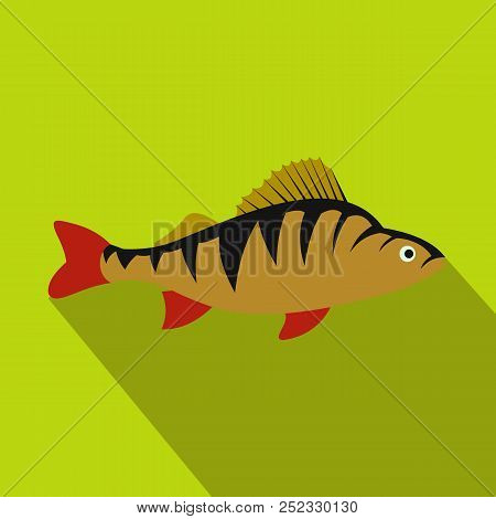Perch fish icon in flat style with long shadow. Sea and ocean symbol stock photo