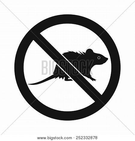 No rats sign icon in simple style isolated on white background stock photo