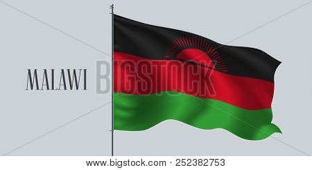 Malawi waving flag on flagpole vector illustration. Red green element of Malawi wavy realistic flag as a symbol of country stock photo
