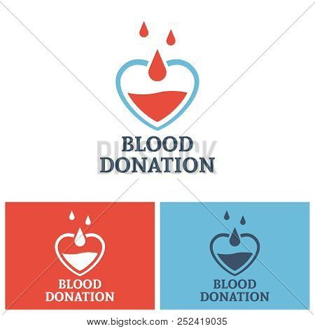 Blood donation vector logo design template, heart and drop blood concept design elements for donor foundation stock photo