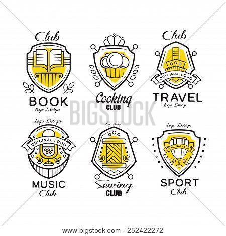 Hobby club logo design set, badges with heraldic shield, book, cooking, travel, sewing, music, sport club vector Illustrations on a white background stock photo