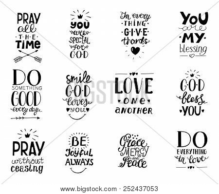 Set of 12 Hand lettering christian quotesYou blessings, Do good every day, Grace, mercy, peace, Love one another, Pray, God bless you, Give thanks. stock photo
