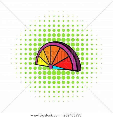 Colorful tachometer icon in comics style on a white background stock photo