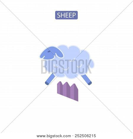 Sheep flat icons logo vector illustration. Symbols of counting jumping sheep. Insomnia sleep problem. Design element for website brochure infographic stock photo