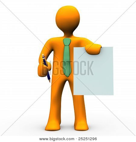 Orange cartoon with blue pen and a conctract in the hands. stock photo