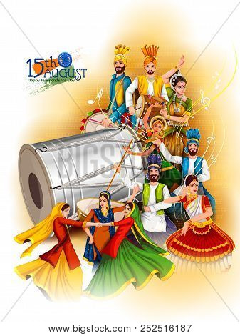 Indian dancer on Happy Independence Day of India background stock photo