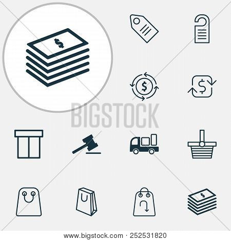 Commerce icons set with shopping bag, return item, tag and other refund elements. Isolated vector illustration commerce icons. stock photo