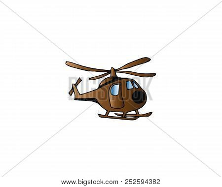 Children toys, air vehicles. Flying helicopter, for transportation. Air passenger helicopter. Transport for flight in air. Logistics, delivery services. Kid colorful cartoon toys. Vector illustration. stock photo