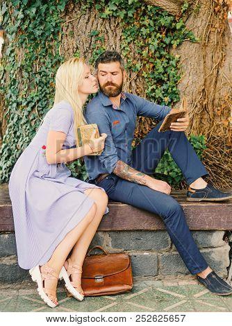 Seducing Teacher Concept. Couple In Love, Teacher And Student Reading,