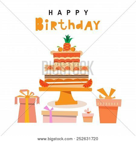 Happy Birthday to you typographic  design for greeting cards. Chocolate cake  in three layers with candle and stand, in cartoon style. Colorful  gift boxes. Vector illustration. stock photo