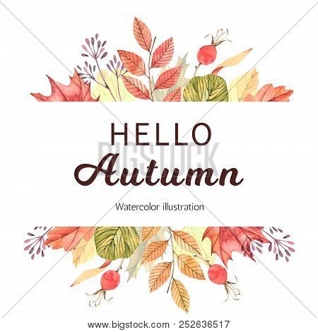 Hand drawn watercolor illustration. Wreath with fall leaves, acorns and berries. Forest design elements. Hello Autumn! Perfect for seasonal advertisement, invitations, cards stock photo