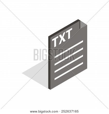 Document file format TXT icon in isometric 3d style isolated on white background stock photo