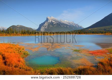 Scenic Vermilion lakes landscape in Banff national park stock photo