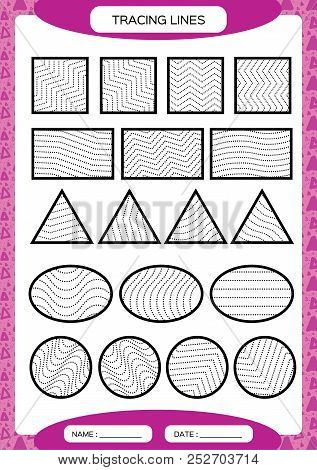 Tracing Lines. Kids education. Preschool worksheet. Basic writing. Kids doing worksheets. Fine motor skills. Waves and zigzag lines. Purple background. Square, circle. triangle. stock photo