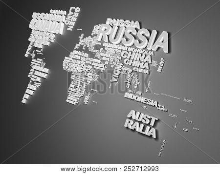 The world map with all states and their names 3d illustration on grey stock photo