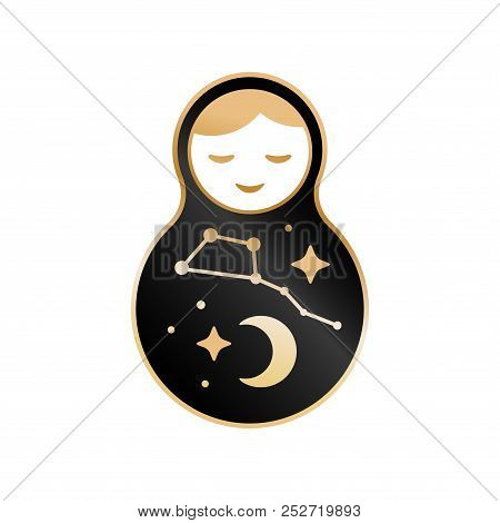 Russian doll matrioshka Babushka smiling Kawaii cute face, Stars, moon, constellation Ursa Major the Great Bear, night sky. Black gold isolated on white background for fashion patches badges. Vector stock photo