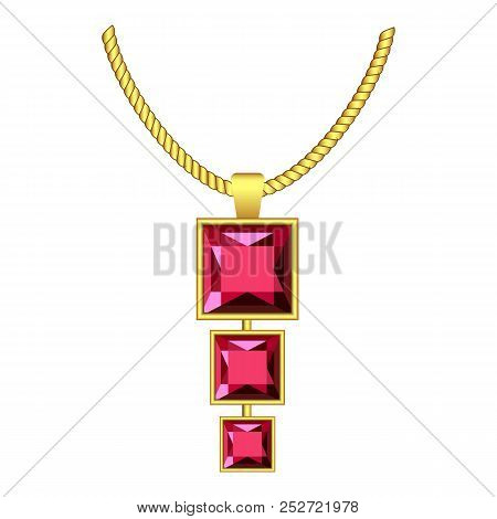 Garnet jewelry icon. Realistic illustration of garnet jewelry icon for web design isolated on white background stock photo