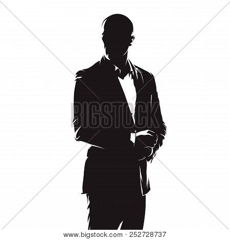 Business man in suit, abstract comics ink drawing, isolated vector silhouette. People stock photo