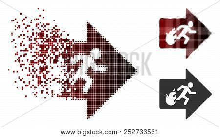 Vector fire exit icon in dissolved, dotted halftone and undamaged whole variants. Disintegration effect involves square scintillas and horizontal gradient from red to black. stock photo